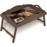 Столик для завтрака в постель «Русская берёза», «Дело в шляпе» с фигурным бортиком цвет орех