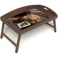 Столик для завтрака в постель «Русская берёза», «Дело в шляпе» с 3-мя высокими бортиками цвет орех