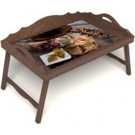 Столик для завтрака в постель «Дело в шляпе» с 3-мя фигурными бортиками цвет орех