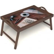 Столик для завтрака в постель «Эспрессо» с ручками цвет орех
