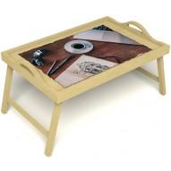 Столик для завтрака в постель «Эспрессо» с ручками цвет светлый