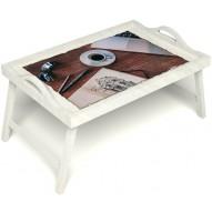 Столик для завтрака в постель «Эспрессо» с ручками цвет белый