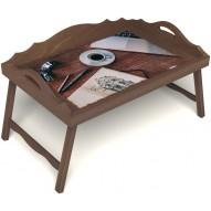 Столик для завтрака в постель «Эспрессо» с 3-мя фигурными бортиками цвет орех
