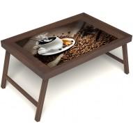 Столик для завтрака в постель «Русская берёза», «Горячий кофе» без ручек цвет орех