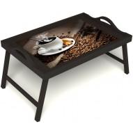 Столик для завтрака в постель «Горячий кофе» с ручками цвет венге