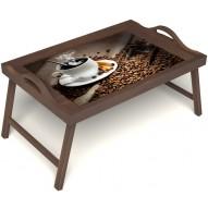 Столик для завтрака в постель «Горячий кофе» с ручками цвет орех