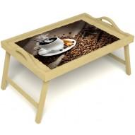 Столик для завтрака в постель «Горячий кофе» с ручками цвет светлый
