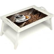 Столик для завтрака в постель «Горячий кофе» с ручками цвет белый