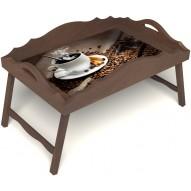 Столик для завтрака в постель «Русская берёза», «Горячий кофе» с фигурным бортиком цвет орех