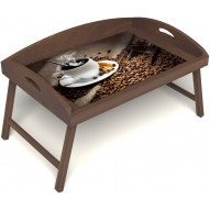 Столик для завтрака в постель «Русская берёза», «Горячий кофе» с 3-мя высокими бортиками цвет орех