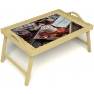 Столик для завтрака в постель «Идеальное утро» с ручками цвет светлый