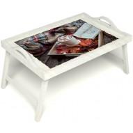 Столик для завтрака в постель «Идеальное утро» с ручками цвет белый