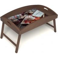 Столик для завтрака в постель «Идеальное утро» с высоким бортиком цвет орех