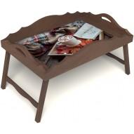 Столик для завтрака в постель «Русская берёза», «Идеальное утро» с фигурным бортиком цвет орех