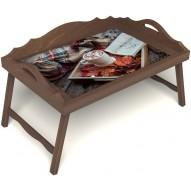 Столик для завтрака в постель «Идеальное утро» с 3-мя фигурными бортиками цвет орех