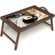 Столик для завтрака в постель «Капучино» с ручками цвет орех