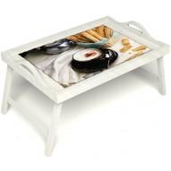 Столик для завтрака в постель «Капучино» с ручками цвет белый
