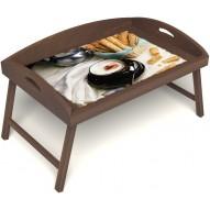 Столик для завтрака в постель «Русская берёза», «Капучино» с 3-мя высокими бортиками цвет орех