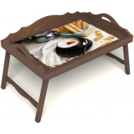 Столик для завтрака в постель «Капучино» с 3-мя фигурными бортиками цвет орех