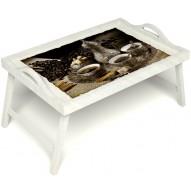 Столик для завтрака в постель «Кофе по-турецки на троих» с ручками цвет белый