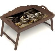 Столик для завтрака в постель «Кофе по-турецки на троих» с 3-мя фигурными бортиками цвет орех