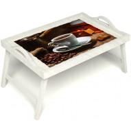 Столик для завтрака в постель «Кофе по-турецки» с ручками цвет белый