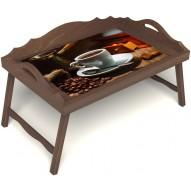 Столик для завтрака в постель «Кофе по-турецки» с 3-мя фигурными бортиками цвет орех