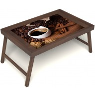 Столик для завтрака в постель «Кофе с корицей» без ручек цвет орех