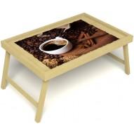 Столик для завтрака в постель «Русская берёза», «Кофе с корицей» без ручек цвет светлый