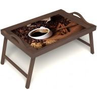 Столик для завтрака в постель «Кофе с корицей» с ручками цвет орех