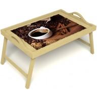 Столик для завтрака в постель «Русская берёза», «Кофе с корицей» с ручками цвет светлый