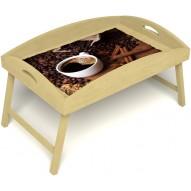 Столик для завтрака в постель «Русская берёза», «Кофе с корицей» с высоким бортиком цвет светлый