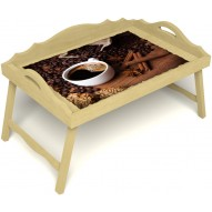 Столик для завтрака в постель «Русская берёза», «Кофе с корицей» с 3-мя фигурными бортиками цвет светлый