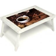Столик для завтрака в постель «Русская берёза», «Кофе с корицей» без ручек цвет белый