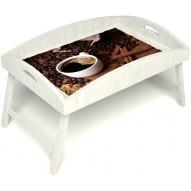 Столик для завтрака в постель «Русская берёза», «Кофе с корицей» с высоким бортиком цвет белый