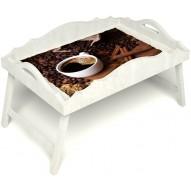Столик для завтрака в постель «Русская берёза», «Кофе с корицей» с фигурным бортиком цвет белый
