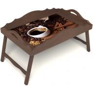 Столик для завтрака в постель «Русская берёза», «Кофе с корицей» с фигурным бортиком цвет орех