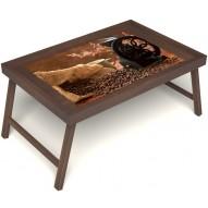 Столик для завтрака в постель «Русская берёза», «Кофейный помол» без ручек цвет орех