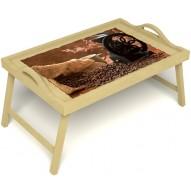 Столик для завтрака в постель «Русская берёза», «Кофейный помол» с ручками цвет светлый