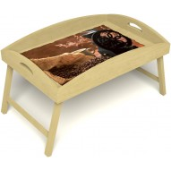 Столик для завтрака в постель «Русская берёза», «Кофейный помол» с высоким бортиком цвет светлый
