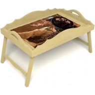Столик для завтрака в постель «Русская берёза», «Кофейный помол» с фигурным бортиком цвет светлый