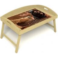 Столик для завтрака в постель «Русская берёза», «Кофейный помол» с 3-мя высокими бортиками цвет светлый