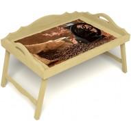 Столик для завтрака в постель «Русская берёза», «Кофейный помол» с 3-мя фигурными бортиками цвет светлый