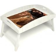 Столик для завтрака в постель «Русская берёза», «Кофейный помол» с высоким бортиком цвет белый
