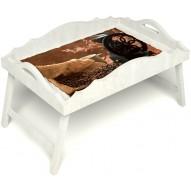 Столик для завтрака в постель «Русская берёза», «Кофейный помол» с фигурным бортиком цвет белый