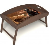 Столик для завтрака в постель «Русская берёза», «Кофейный помол» с высоким бортиком цвет орех