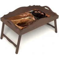 Столик для завтрака в постель «Русская берёза», «Кофейный помол» с фигурным бортиком цвет орех