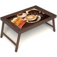 Столик для завтрака в постель «Русская берёза», «Латте-арт» без ручек цвет орех