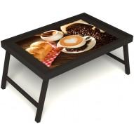 Столик для завтрака в постель «Русская берёза», «Латте-арт» без ручек цвет венге