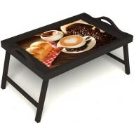 Столик для завтрака в постель «Латте-арт» с ручками цвет венге